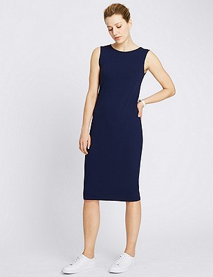 Pull On Ribbed Midi Dress, NAVY, catlanding