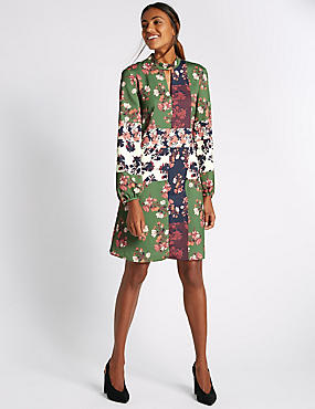 Patchwork Fit and Flare Dress, GREEN MIX, catlanding