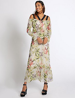 Printed Circular Flounce Sleeve Maxi Dress, IVORY MIX, catlanding