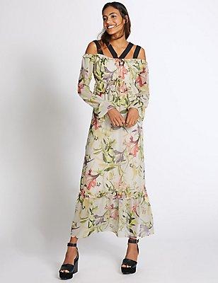 Floral Print Ruffle Sleeve Maxi Dress, IVORY MIX, catlanding