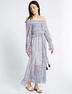 Floral Print Flared Bardot Midi Dress, IVORY MIX, catlanding
