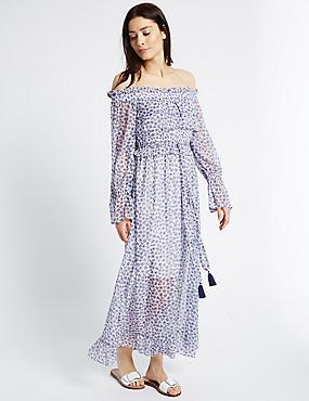 Floral Print Bardot Midi Dress, IVORY MIX, catlanding
