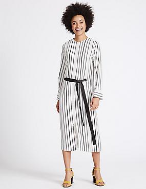 Striped Eyelet Shift Dress with Belt, IVORY MIX, catlanding