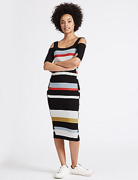Striped Cold Shoulder Bodycon Midi Dress, NAVY MIX, catlanding