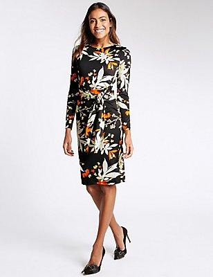 Floral Print Tie Front Long Sleeve Dress, BLACK MIX, catlanding