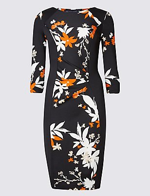 PETITE Floral Print 3/4 Sleeve Shift Dress, BLACK MIX, catlanding