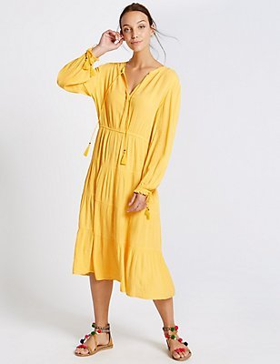 Tiered Long Sleeve Midi Dress, YELLOW, catlanding