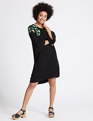 Floral Embroidered Tunic Dress, BLACK MIX, catlanding