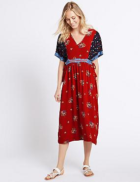 Midi-Kleid mit kurzen Ärmeln und Patchwork-Muster , BLAU MELANGE, catlanding