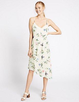 Printed Slip Dress, IVORY MIX, catlanding