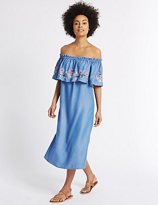 Embroidered Smock Shift Dress, BLUE MIX, catlanding