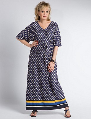 Abstract Print Maxi Dress, CHINA BLUE, catlanding