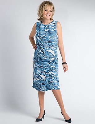 Drape Waist Printed Sleeveless Wrap Dress, BLUE MIX, catlanding