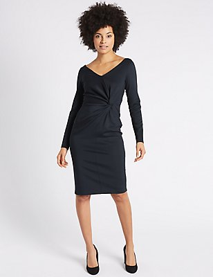 Knot Front Scuba Bodycon Midi Dress, BLACK MIX, catlanding