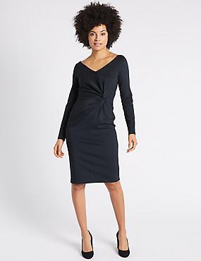 Knot Front Scuba Bodycon Dress, BLACK MIX, catlanding