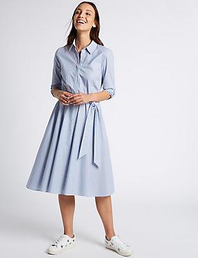 Pure Cotton Striped Long Sleeve Shirt Dress, MULTI, catlanding
