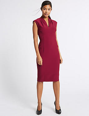 Bodycon Midi Dress, PLUM, catlanding