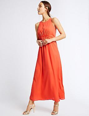 Drawstring Sleeveless Maxi Dress, BRIGHT ORANGE, catlanding