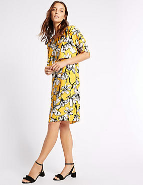 Floral Print Double Layered Shift Dress, YELLOW MIX, catlanding