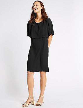 Double Layer Tie Back Shift Dress, BLACK, catlanding