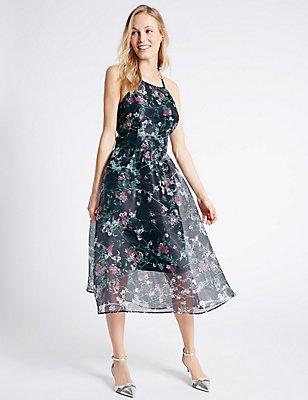 Floral Print Halter Neck Skater Dress, MULTI, catlanding