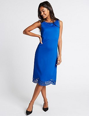 Cutwork Skater Midi Dress, COBALT, catlanding