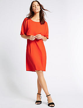 Double Layer Tie Back Shift Dress, BRIGHT ORANGE, catlanding