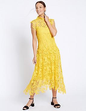 Floral Lace Cap Sleeve Shift Dress, YELLOW, catlanding