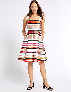 Striped Prom Skater Dress, MULTI, catlanding