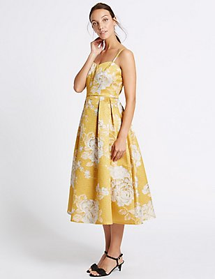 Floral Jacquard Prom Dress, GOLD MIX, catlanding