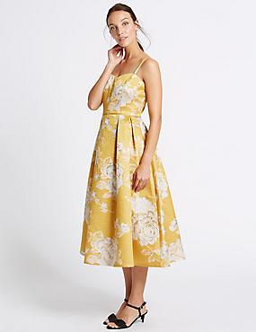 Floral Print Slip Dress, GOLD MIX, catlanding