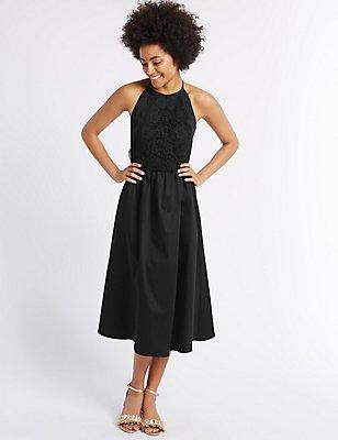 Cotton Rich Embroidered Skater Dress, BLACK, catlanding