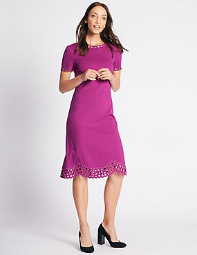 Cutwork Short Sleeve Skater Midi Dress, PINK, catlanding