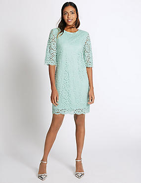 Cotton Rich Lace Layered Swing Dress, LIGHT DUCK EGG, catlanding