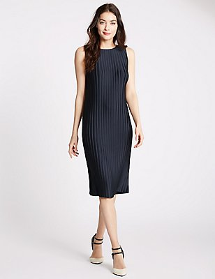 Plisse Shift Midi Dress, NAVY, catlanding