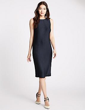 Rechte jurk met plissé , MARINE, catlanding
