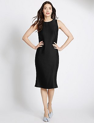 Plisse Sleeveless Shift Dress, BLACK, catlanding