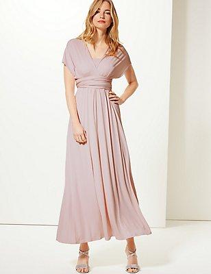 Multiway Strap Maxi Dress, BLUSH PINK, catlanding
