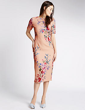 Floral Print Short Sleeve Bodycon Dress, BLUSH, catlanding