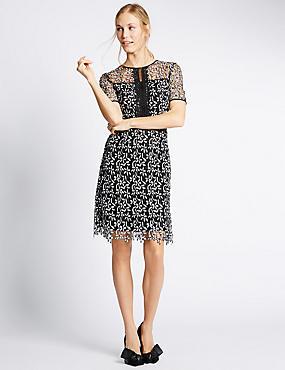 Lace Short Sleeve Shift Dress, BLACK MIX, catlanding