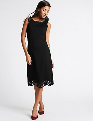 Cutwork Skater Midi Dress, BLACK, catlanding