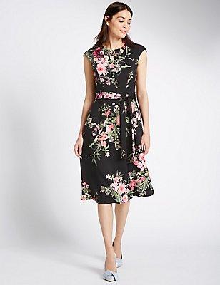 Floral Print Cap Sleeve Skater Dress, BLACK MIX, catlanding