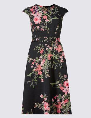 """Платье-скейтер """"Цветы"""" с рукавом-фонарик M&S Collection T426465"""