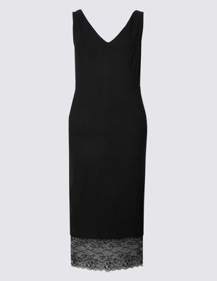 Платье-бодикон без рукавов с кружевной отделкой M&S Collection T426466