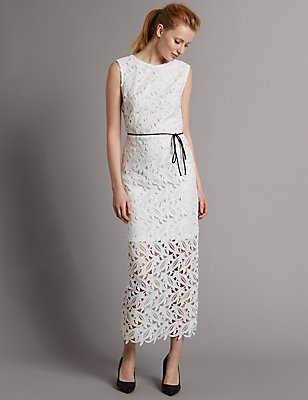 Lace Split Back Maxi Dress with Belt, IVORY, catlanding