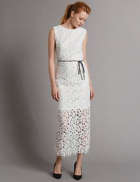 Lace Sleeveless Maxi Dress, IVORY, catlanding