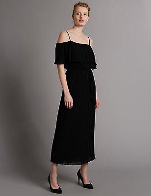 Pleated Cold Shoulder Maxi Dress, BLACK, catlanding