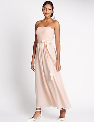 Detachable Straps Pleated Maxi Dress, BLUSH PINK, catlanding