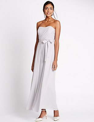 Detachable Straps Pleated Maxi Dress, SILVER GREY, catlanding