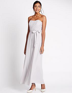Detachable Straps Pleated Maxi Dress, SILVER GREY, catlanding